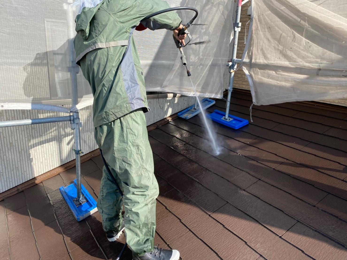W様邸屋根高圧洗浄1