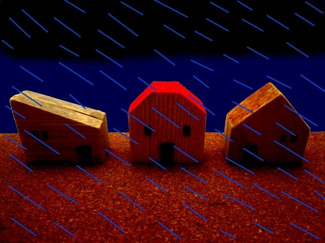 暴風雨の模型の家